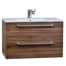 buy 32 inch wall mount modern bathroom vanity set walnut rs dm800