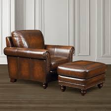 Leather Chairs Living Room by Old World Chair Hamilton Brown Leather Bassett Furniture