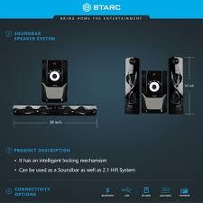 home theater system with fm radio buy starc sb300bt soundbar with bluetooth usb fm radio aux in sd