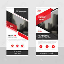 free printable vertical banner template red black triangle business roll up banner flat design template
