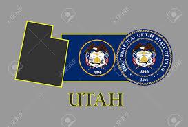 Th Flag Utah State Map Flag Seal And Name Royalty Free Cliparts Vectors