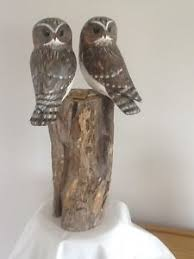 owl wood carving archipelago wood carving sculpture of two owls on post d363 owl