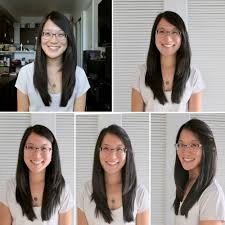 hair bangs tucked ear l to r top to bottom styled hair post 30 haircut unstyled hair