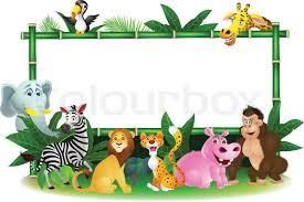 safari cartoon animal cartoon with blank sign stock vector colourbox