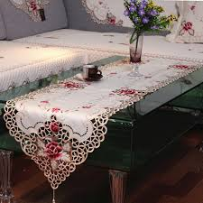 fabric for table runners wedding yazi embroidered rose flower cutwork fabric lace table runner