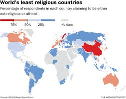 map these are the world u0027s least religious countries atheism