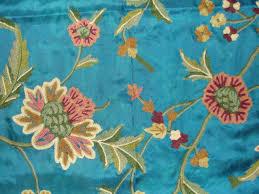 Traditional Upholstery Fabrics Crewel Fabric Shalimar Robin Egg Blue Silk Organza Yardage