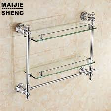 aliexpress com buy chrome crystal bathroom shower glass shelf