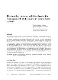 the teacher u2013learner relationship in the management of discipline