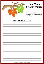 autumn how many words puzzle
