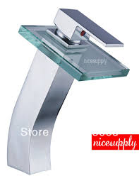 waterfall glass spout faucet bathroom basin sink mixer tap water