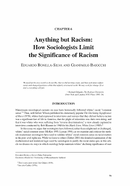 anything but racism how sociologists limit the significance of