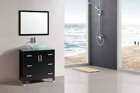 Bathroom  Rectangle Long Light Wall Mirror With Black Wooden - Designer bathroom cabinets mirrors