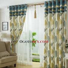 Leaf Design Curtains Fresh Tropical Leaf Pattern Linen Material Printed Country Curtain