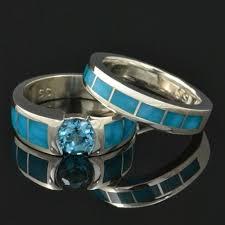 turquoise and wedding ring birdseye turquoise wedding ring and engagement ring set