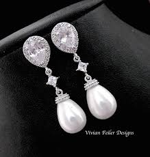 wedding earrings drop earrings pearl tear drop bridal pearl earrings cubic zirconia