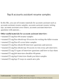 Accountant Assistant Resume Sample by Top8accountsassistantresumesamples 150424020013 Conversion Gate01 Thumbnail 4 Jpg Cb U003d1429858857