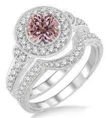 morganite engagement ring white gold 1 5 carat morganite antique halo bridal set engagement