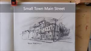 pencil sketch of a small town main street 2x speed fast and fun