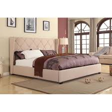 Mdf Bed Frame King Size Beige Color Linen Fabric Bed Frame Louvre