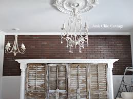 junk chic cottage faux brick wall living room here is the grandmas