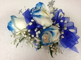 White Rose Wrist Corsage White Rose Wrist Corsage With Blue Tips Yelp