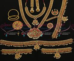 d12802 classical bharathanatiyam jewellery set multi colour