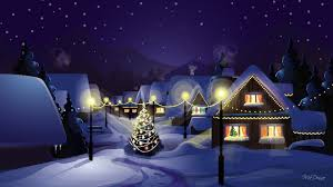 winter cozy decorations blue neighborhood house lights street