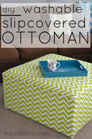 Diy Reupholster Ottoman by Diy Slip Covered Ottoman