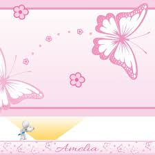 Wallpaper Borders For Bedrooms Chasing Butterflies Personalised Bedroom Wall Border Pink