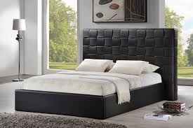 baxton studio prenetta black modern bed with upholstered headboard