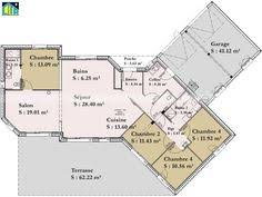 plan maison en l 4 chambres plan maison 4 chambres 150m2