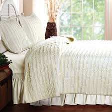 bedroom wonderful white ruffle bedding with upholstered headboard