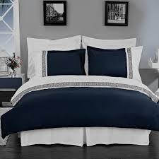 amazon com hotel style greek key navy blue and white microfiber