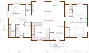 Simple Floor Plan by Floor Plan 1440 Sqft Wing Shaped Single Level Log Home Rancher