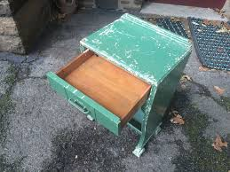 green shabby chic end table with slant shelf attainable vintage