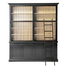 Industrial Bookcase With Ladder by Black Solid Pine Bookcase With Ladder Versailles Maisons Du Monde
