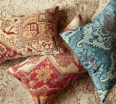 Pottery Barn Kilim Pillow Cover Rustic Retreat Crimson Red Creams And Taupe Colors For Paisley