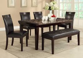 homelegance thurston faux marble dining set espresso d2545 68