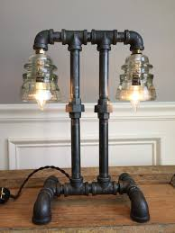 Plumbing Pipe Floor Lamp by Vintage Industrial Steampunk Lamp Glass Insulator Light Machine
