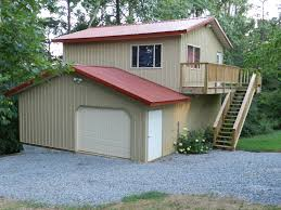 Single Garage Plans Backyard U0026 Patio Excellent New Wood Wall Pole Barn With Living