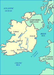 map of ireland ireland map shows cities rivers bodies of water