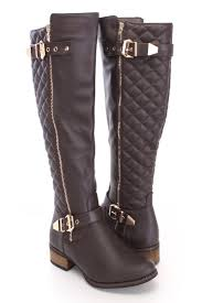 riding shoes dark brown quilted riding boots faux leather