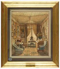 drawing interior of a dressing room with tented ceiling 1848