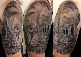 black cat halloween in graveyard tattoo design photos pictures