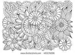 black white flower pattern coloring doodle stock vector 493178296