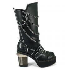 biker type boots gothic womens under knee boots with chains and square 3 1 2 inch heel
