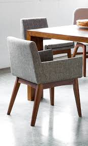 Midcentury Dining Chair 2x Gray Dining Chair In Brown Wood Upholstered Article Chanel