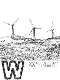 w is for windmill coloring page