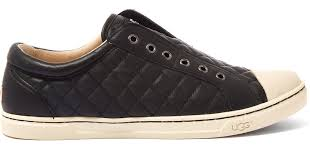 ugg jemma sale ugg black quilted leather jemma trainers in black lyst